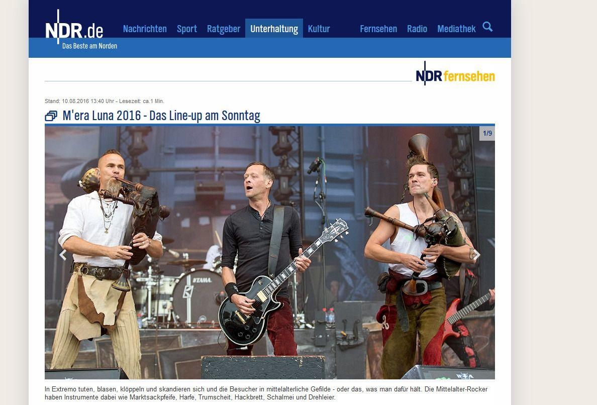 Die Bands am Sonntag beim M era Luna 2016 NDR.de Unterhaltung Events M era Luna 2016