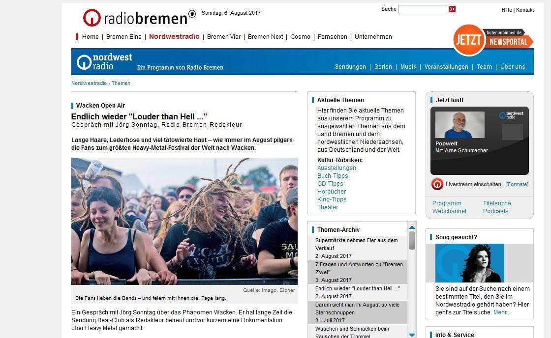 Endlich wieder Louder than Hell ... Wacken Open Air Nordwestradio Radio Bremen