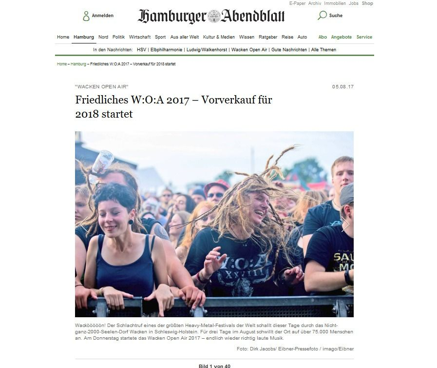 Friedliches W O A 2017 – Vorverkauf für 2018 startet Hamburg Aktuelle News aus den Stadtteilen Hamburger Abendblatt