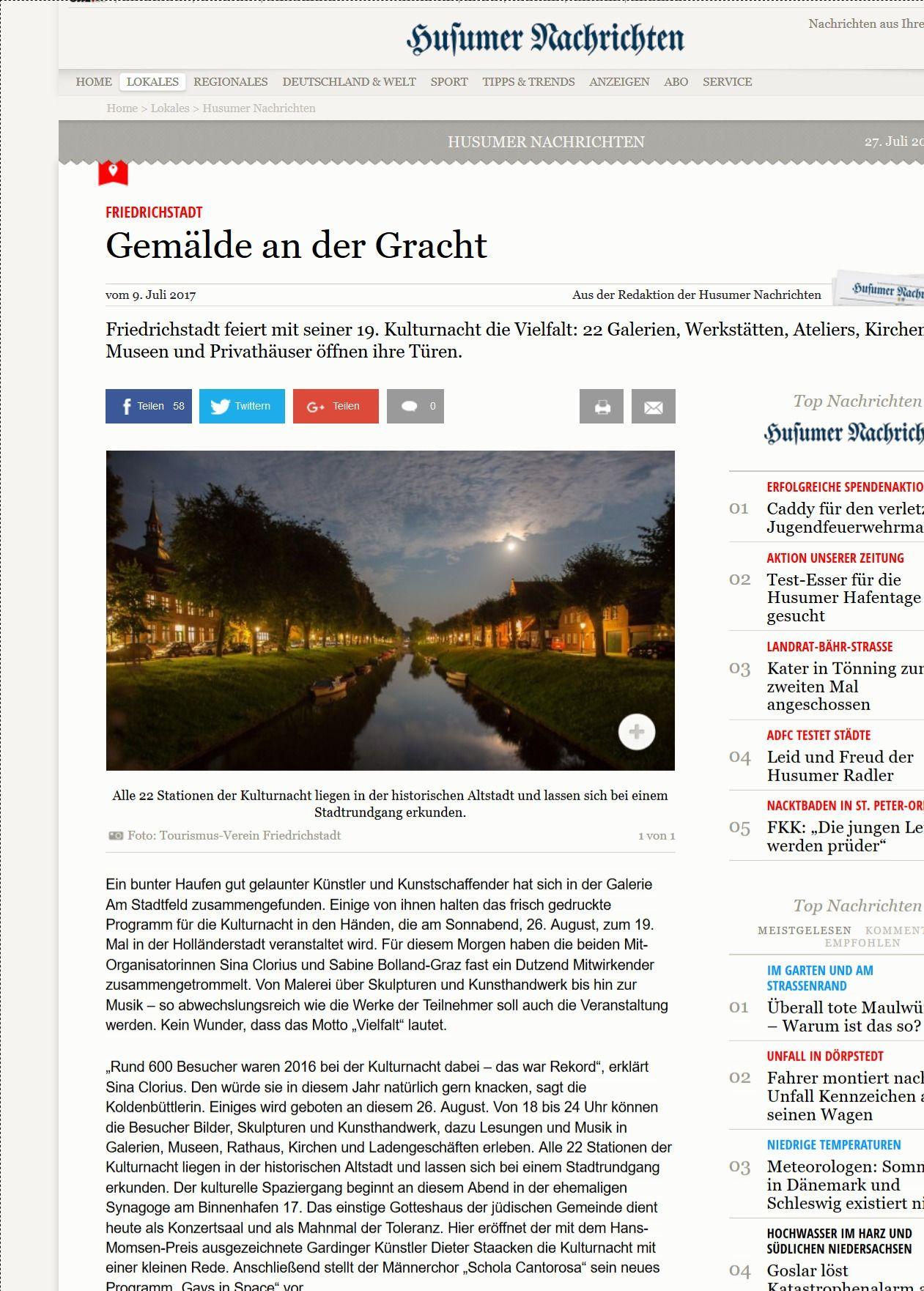 Friedrichstadt Gemälde an der Gracht shz.de