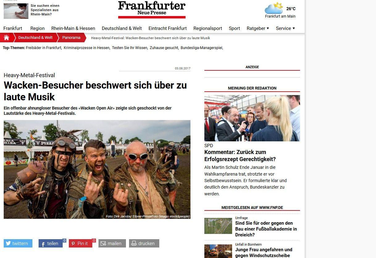 Heavy Metal Festival Wacken Besucher beschwert sich über zu laute Musik Frankfurter Neue Presse