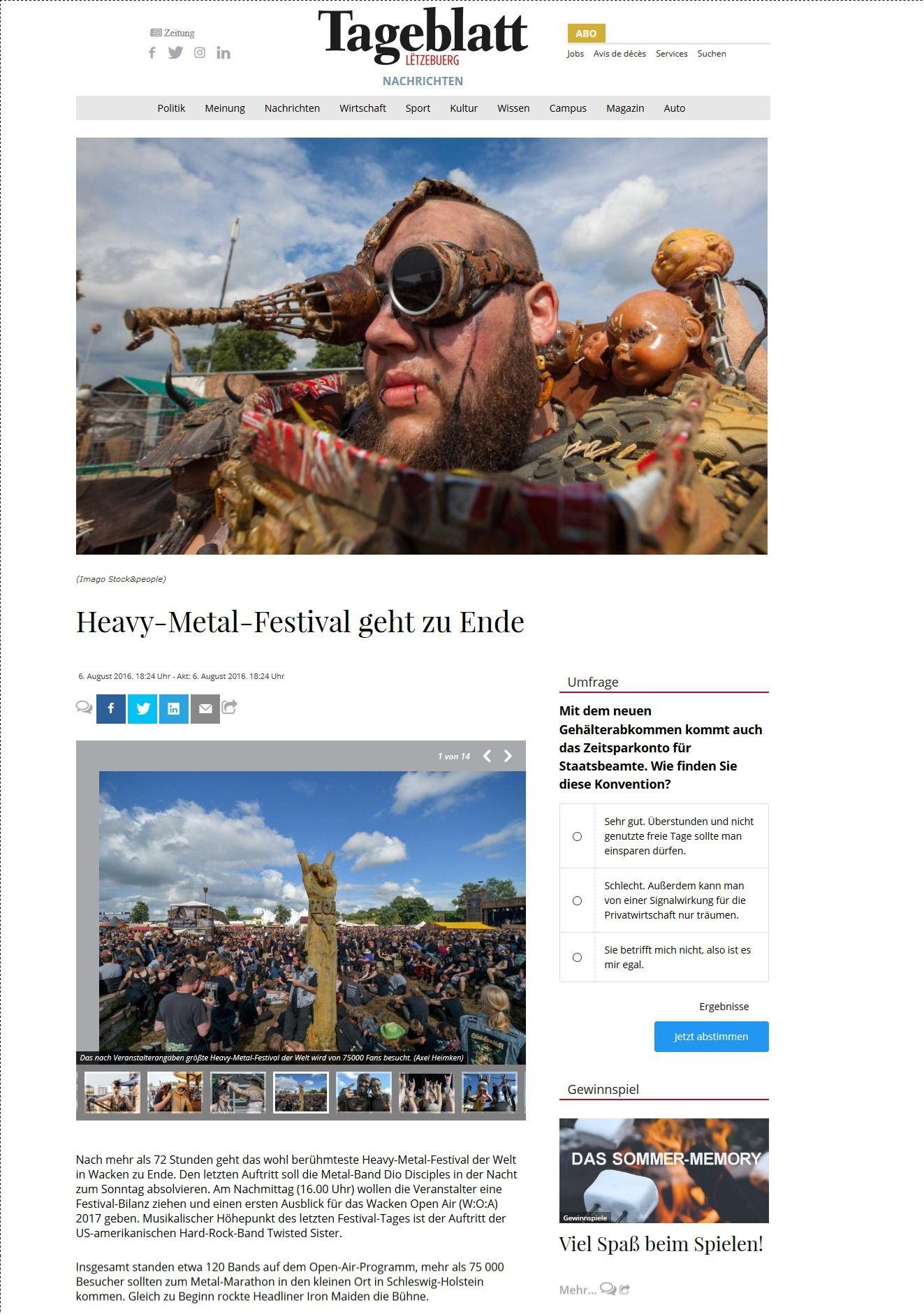 Heavy Metal Festival geht zu Ende Tageblatt.lu