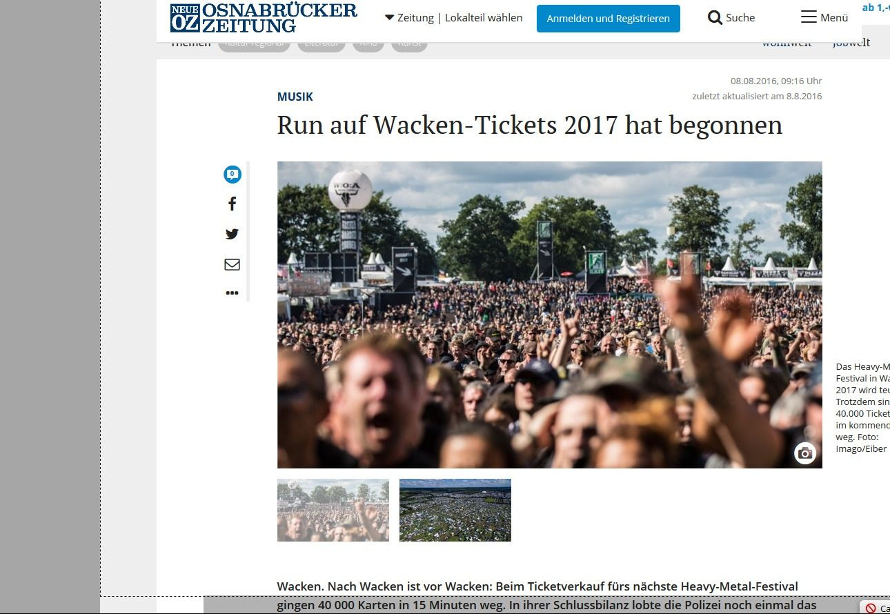 Musik Run auf Wacken Tickets 2017 hat begonnen