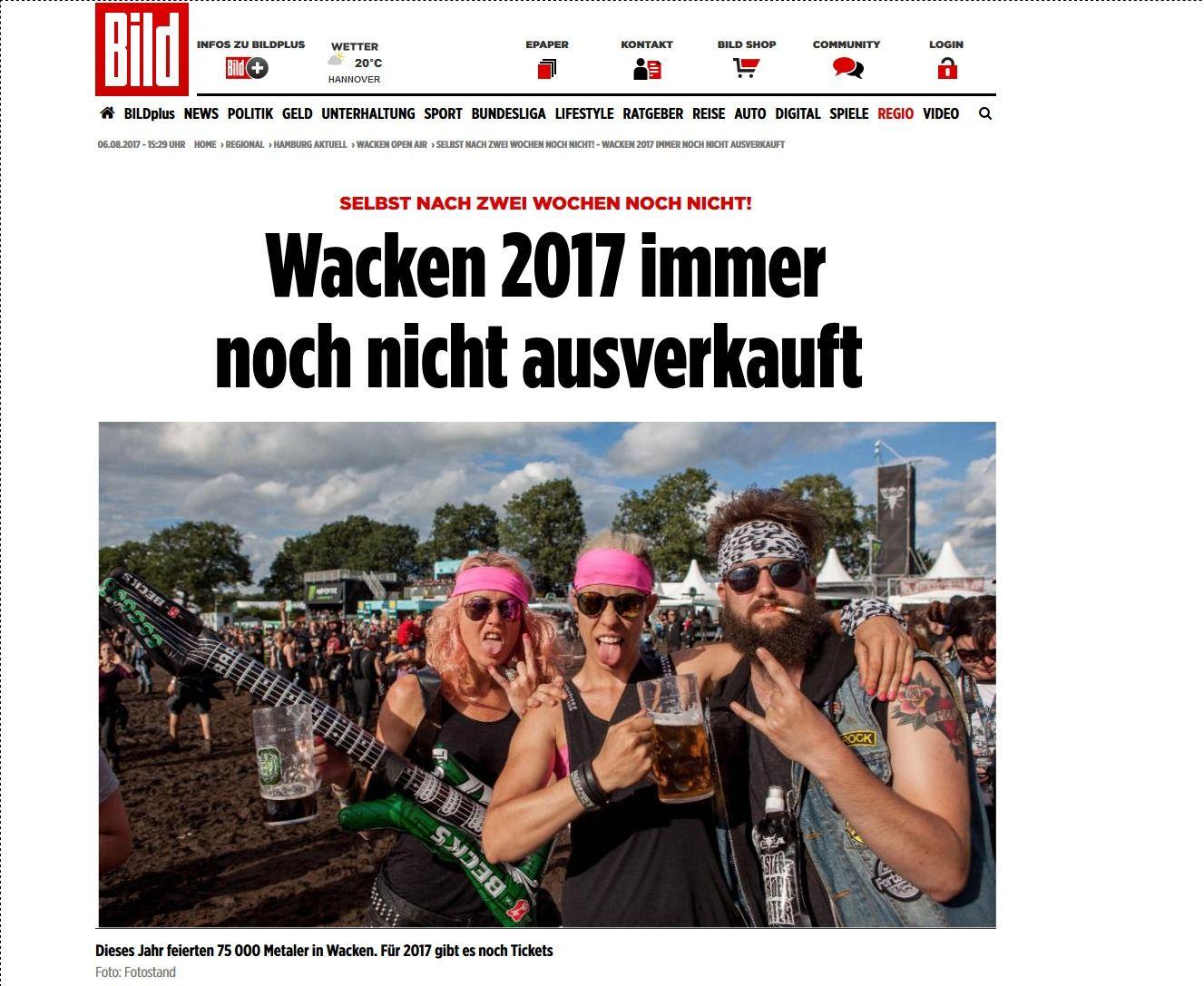 Selbst nach zwei Wochen noch nicht Wacken 2017 immer noch nicht ausverkauft Hamburg Bild.de