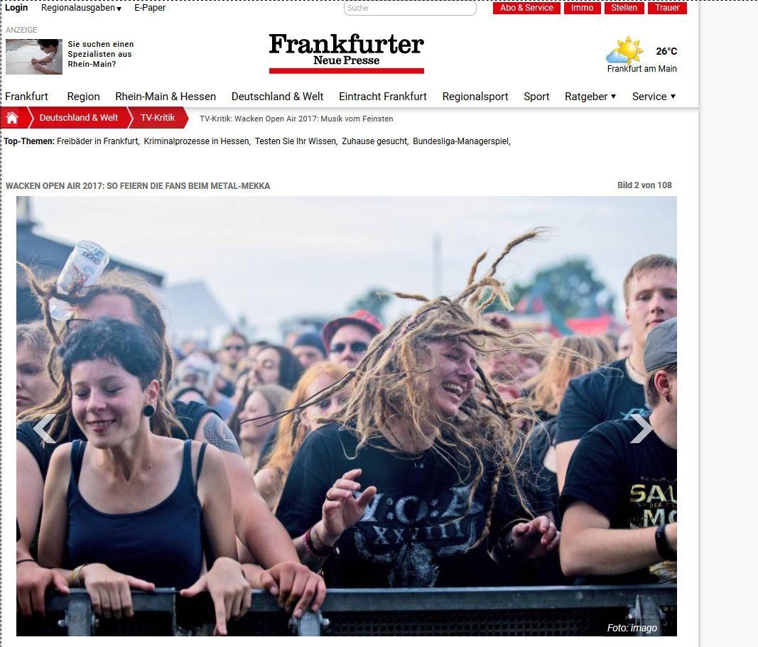 TV Kritik Wacken Open Air 2017 Musik vom Feinsten Frankfurter Neue Presse(2)