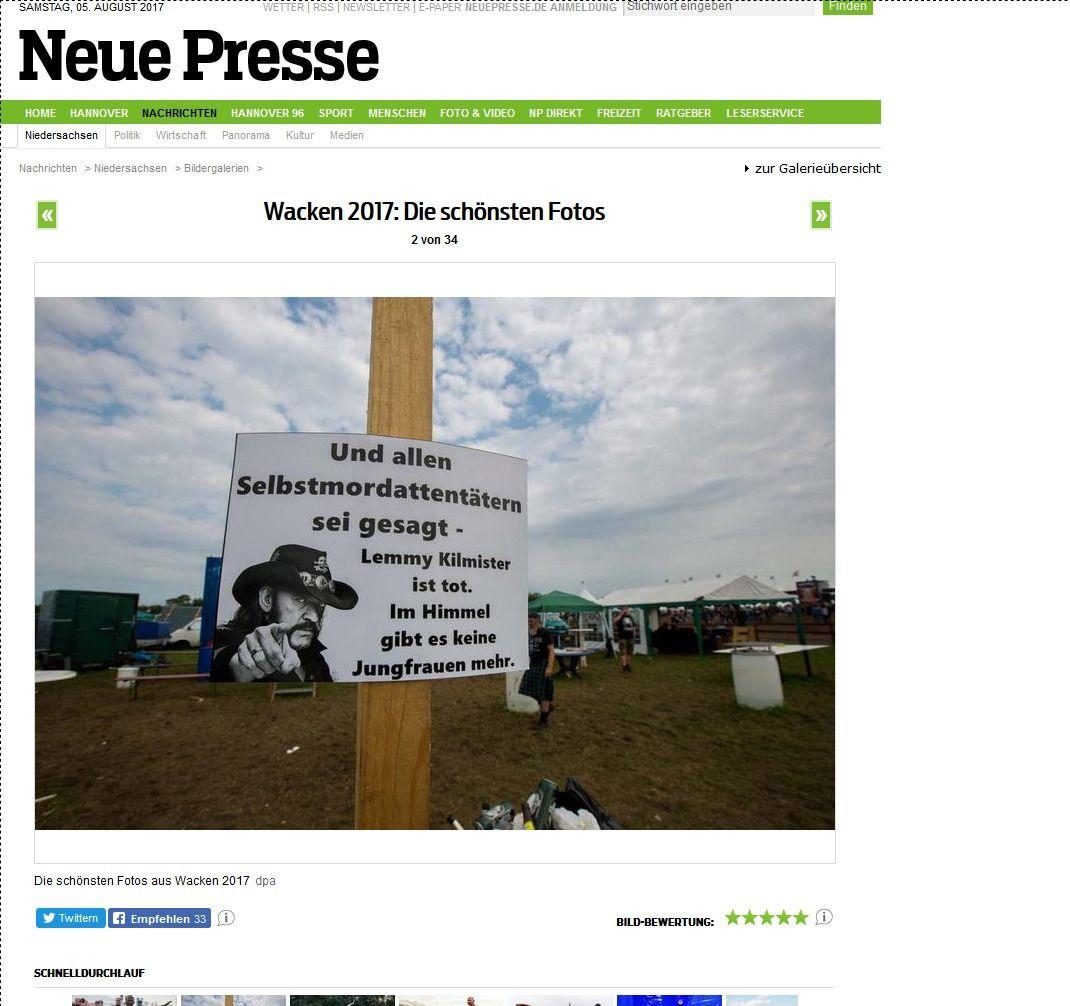 Wacken 2017 Die schönsten Fotos Bildergalerien Niedersachsen Nachrichten NP Neue Presse